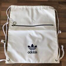 Classic Draw String Adidas Kit Gym Bag - White with Zip Pocket (2010)