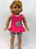 """Hot Pink Turtle Short Set Fits 18"""" American Girl Doll Clothes"""