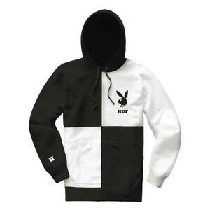 New Mens HUF x Playboy Fashion Black & White Color Block Hoodie / Sweater