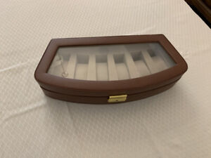 Tech Swiss  Watch Box Storage Case For 6 Watches Brown Leather Lockable