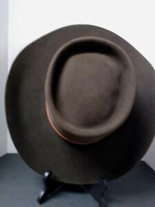 "10X AMERICAN HAT CO CHOCOLATE BROWN WESTERN COWBOY HAT 7 5/8 SIZE 4"" BRIM"