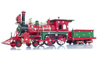 "Holiday Christmas Ornament Steam Locomotive 1900s Metal Model 27.5"" Train Decor"