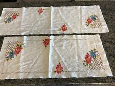 VINTAGE LOT OF 2 CROSS STITCH COTTON CENTERPIECE TABLE RUNNERS
