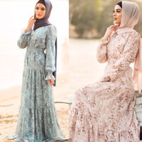 Muslim Women Maxi Dress Printed Floral Abaya Long Sleeve Dubai Kaftan Islamic