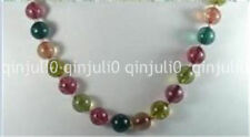 "10mm Multicolor Tourmaline Round Gemstone Beads Necklaces 18"" JN600"
