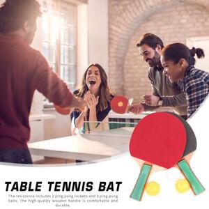 1 Pair Table Tennis Racket Ping  Pong Paddle Bat with 3 Training Balls Set