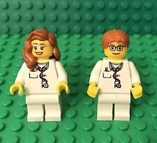 Lego X2 City Doctor / Nurse Mini Figures W/ Glasses Pattern And dark Orange Hair