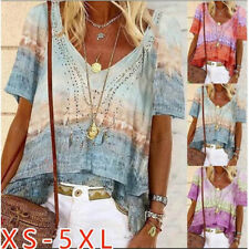 Summer Womens Casual Short Sleeve T Shirt V-Neck Tops Floral Loose Blouse