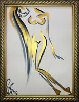 Margarita Bonke Malerei PAINTING erotica EROTIK FRAU akt nu blau Gold Zeichnung
