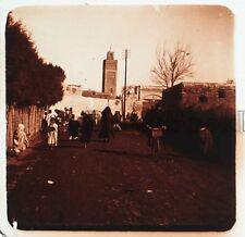 Maroc Scène de rue Plaque de verre stéréo45x107mm Vintage
