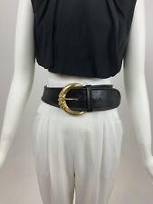 Vintage belt 1990s Donna Karan wide black leather big gold buckle Large