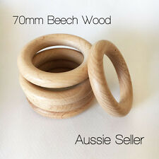 5x organic Beech Wood 70mm rings round raw unfinished teething jewellery DIY