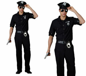 Mens US Police Fancy Dress Costume USA Cop Outfit fg
