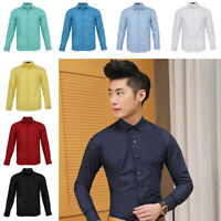 Mens Classic Slim Fit Dress Shirt Business Smart Casual Work Solid Shirt Top