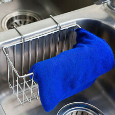 Stainless Steel Sponge Holder Sink Caddy Kitchen Brush Soap Drainer Rack Tool AU