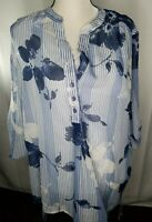 Bonworth top XL *16-18 Petite. Sheer W/built In Cami. 3/4 Blue & White Striped