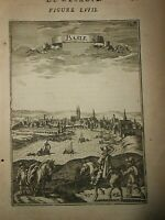 1683 COPPER ENGRAVING A.M.MALLET VIEW OF BASEL IN SWITZERLAND