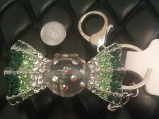Candy Silver Keychain Key Fob Holder Bag Charm Clear Green Swarovski Crystal