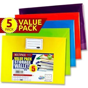 A4 Button Storage Wallets. Pack of 5