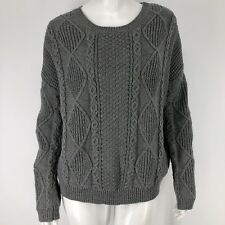 Olive & Oak Womens Medium Sweater Chunky Gray Oversized Slouch Drop Shoulder M