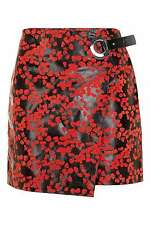 TOPSHOP Red BLOSSOM EYELET LEATHER SKIRT. UK 6. FLORAL WRAP MINI *100% LEATHER*