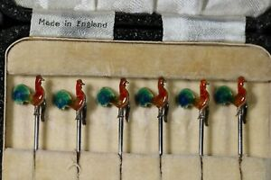 sterling silver cocktail sticks with enamel cockerels in original box AB4