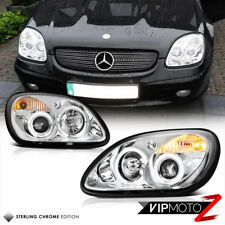 For 98-04 R170 SLK230 SLK55 AMG Euro Projector Halo Headlights Chrome Headlamps