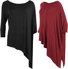 Plus Size Womens 3/4 Cap Sleeve Plain Baggy Oversize T-Shirt Ladies Top 12-26