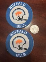 "(2) Buffalo Bills vintage embroidered iron on logo patches Patch Lot  3"" NFL"