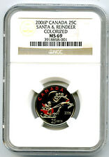 2006 P CANADA 25 CENT NGC MS69 SANTA AND REINDEER QUARTER COLORIZED TOP POP=1