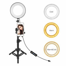 "6"" Selfie Ring Light + Phone Clamp Tripod Stand For Livestream Makeup Adjustable"