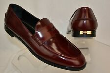 be2fcaef9af899 Burberry London Oban Mahogany Red Leather Gold Logo Dress Penny Loafers 38