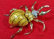 Diamonds 1.75 x 1.50 Inches 16.60gr. 18k Solid Gold Scarab Beetle Brooch With