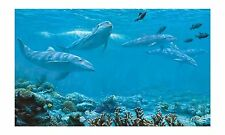 Dolphins Under the Sea, Above the Coral 10.5' x 6' Wall Mural Sure Strip BT2961M