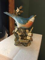 Homco 1984 Masterpiece Porcelain Blue Bird Figurine Rare Spring Floral Theme