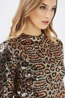 Nordstrom TOPSHOP Sequin Animal Print Gold dress sz 2 fits 0 XS PARTY Body-Con
