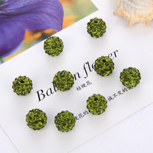 20X Round Shamballa Crystal Pave Clay Disco Ball Space Loose Beads 8/10mm