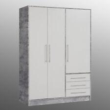 Kleiderschrank Jupiter Drehtürenschrank Schlafzimmerschrank in Beton weiß 145 cm