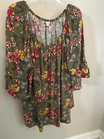 Cato Womens 22/24 Top Blouse Tunic Floral 3X  3/4 Sleeve Boho Funky Artsy