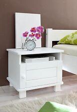 Chevet table de nuit 1 compatiment 1 tiroir BORA pin massif teinté blanc
