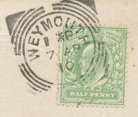 "GB ""WEYMOUTH"" rare Squared Circle Postmark (Cohen Type I CC) superb strike pc"
