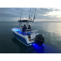2 x LED, Underwater Boat Light, Stainless Steel Surface Mount, Blue, 300 Lumens