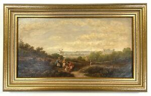 Victorian Oil Painting On Canvas Figures In An Extensive Landscape