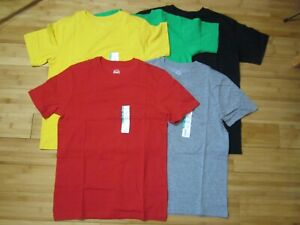 New LOT of 5 t-shirt BOY 10-12 solid colors red yellow black green gray
