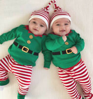 3PCS Newborn Baby Boy Girl My 1st Christmas Clothes Cotton Romper+Pants Outfits
