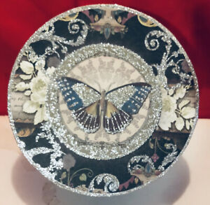 Punch Studio GORGEOUS Round Butterfly Box With Lid Beautiful Colors & Glitter