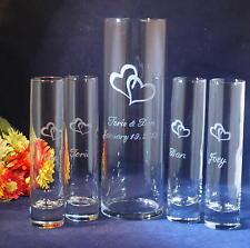 5 pc. Wedding Unity Sand Set, Engraved 10.5 x 3.25 Vase, Engraved Hearts