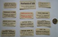 LOT OF 12 DIFFERENT ANTIQUE   DWELLY CHEMIST  CHATTERIS & HARLESDEN CURE LABELS