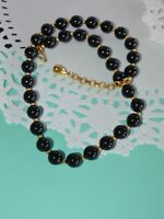"""Signed 18"""" Black Lucite 9mm Beaded Necklace Monet Gold Tone Beads Vintage"""