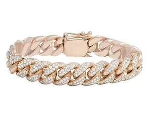 Mens Solid 10K Rose Gold Genuine Diamond Miami Cuban Link Bracelet 9 1/2 CT 14MM